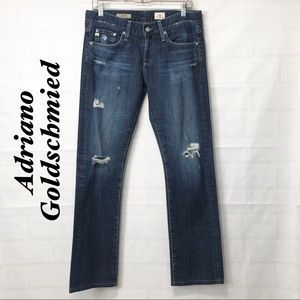 AG Jeans Tomboy Dark Distressed Relaxed Strght 27R